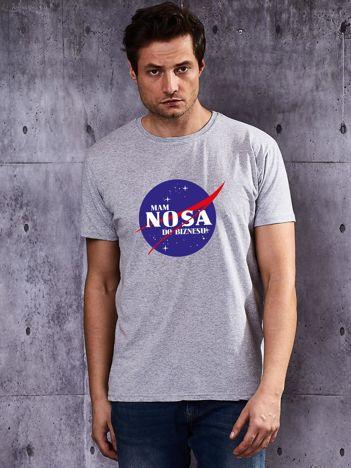 Szary t-shirt męski w stylu NASA