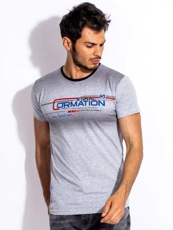 Szary t-shirt męski z geometrycznym nadrukiem