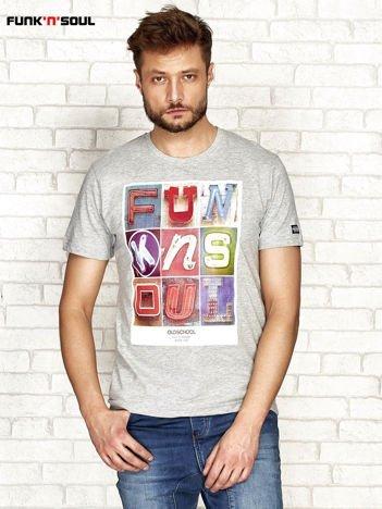 Szary t-shirt męski z miejskim nadrukiem FUNK N SOUL