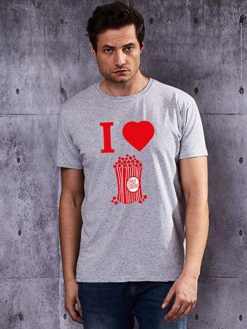 Szary t-shirt męski z nadrukiem I LOVE POPCORN