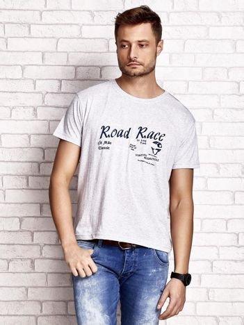 Szary t-shirt męski z wyścigowym napisem ROAD RACE