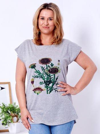 Szary t-shirt z kwiatowym printem PLUS SIZE