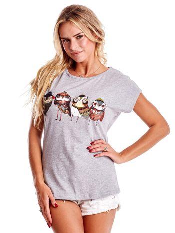 Szary t-shirt z motywem ptaków