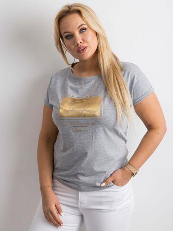 Szary t-shirt z nadrukiem PLUS SIZE