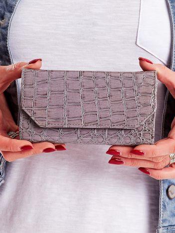 Szary tłoczony portfel damski ze skóry ekologicznej