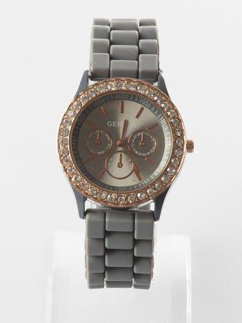 Szary zegarek z silikonowym paskiem