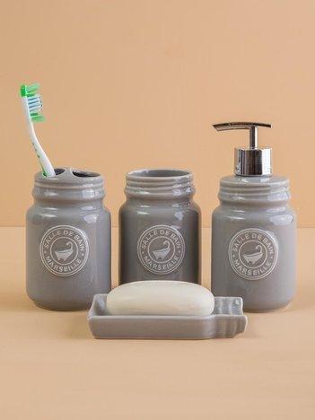 Szary zestaw akcesoriów łazienkowych