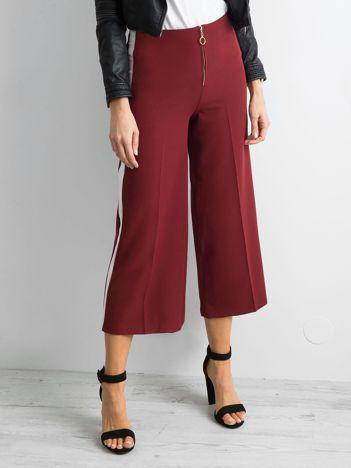 Szerokie spodnie z lampasami bordowe