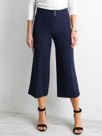 Szerokie spodnie z lampasami granatowe