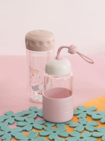 Szklana butelka na napoje różowa