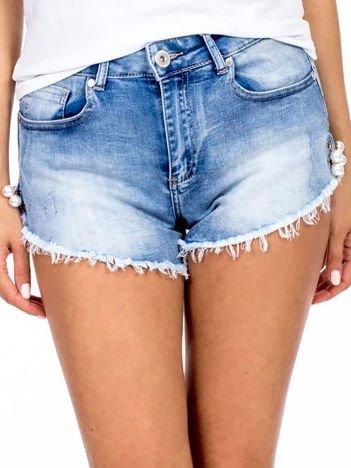 Szorty jeansowe niebieskie z ozdobną aplikacją