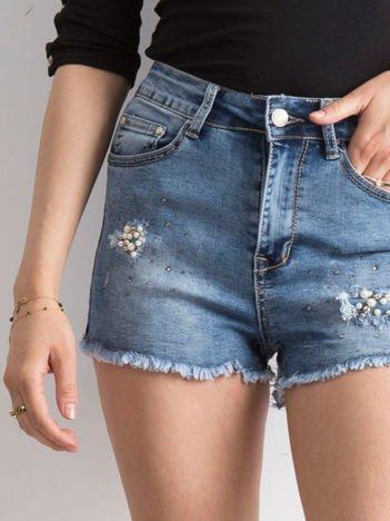 Szorty jeansowe niebieskie z perełkami