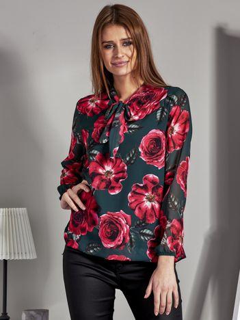 Szyfonowa bluzka w kwiaty z wiązaniem khaki