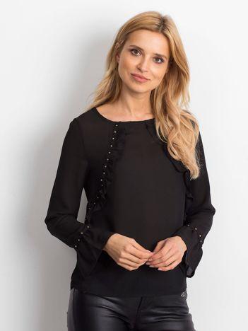Szyfonowa bluzka z falbankami i aplikacją czarna