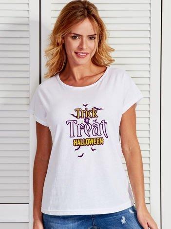 T-shirt Halloween z nadrukiem TRICK OR TREAT biały