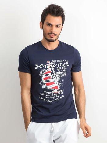 T-shirt bawełniany męski z nadrukiem granatowy
