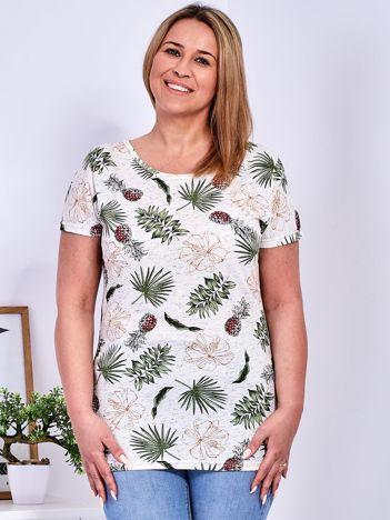 T-shirt beżowy z nadrukiem roślinnym PLUS SIZE