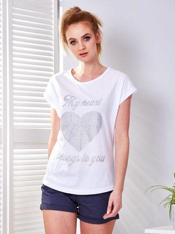 T-shirt biały z brokatowym nadrukiem