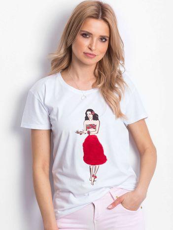 T-shirt biały z hawajską dziewczyną