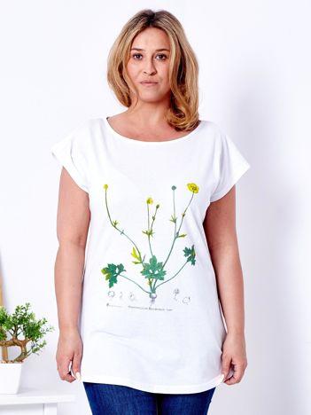 T-shirt biały z jaskrami PLUS SIZE