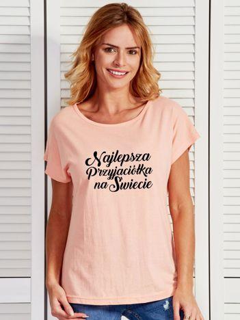 T-shirt brzoskwiniowy NAJLEPSZA PRZYJACIÓŁKA NA ŚWIECIE
