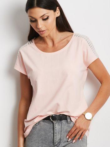 T-shirt brzoskwiniowy z aplikacją