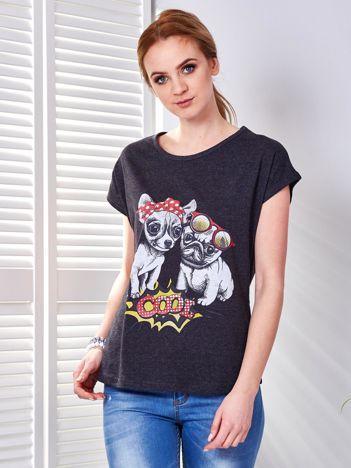 T-shirt ciemnoszary z pieskami
