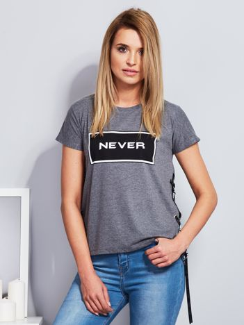T-shirt ciemnoszary ze sznurowaniem na bokach