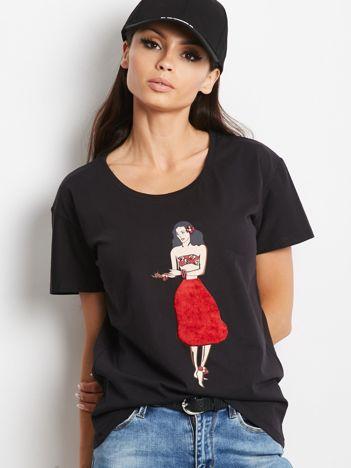 T-shirt czarny z hawajską dziewczyną