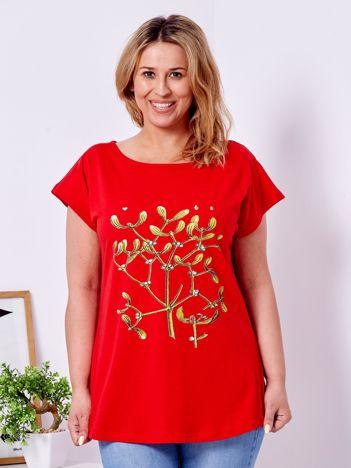 T-shirt czerwony z jemiołą PLUS SIZE
