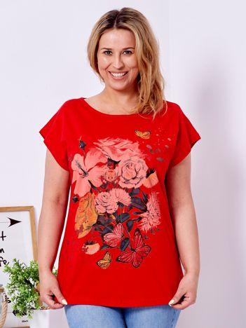 T-shirt czerwony z motywem kwiatowym i aniołkiem PLUS SIZE
