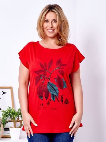 T-shirt czerwony z roślinnym printem PLUS SIZE