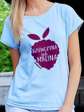 T-shirt damski DZIEWCZYNA JAK MALINA niebieski