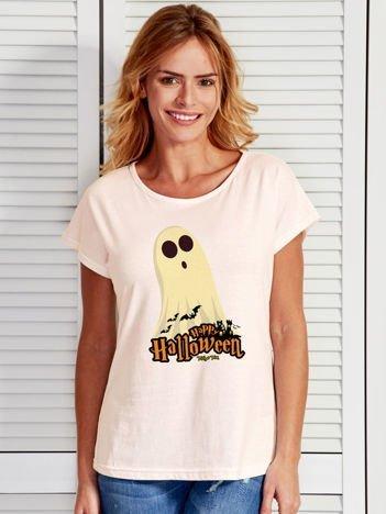 T-shirt damski Halloween z nadrukiem ducha ecru