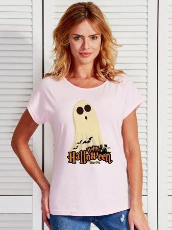 T-shirt damski Halloween z nadrukiem ducha jasnoróżowy