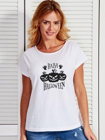 T-shirt damski Halloween z nadrukiem dyni biały