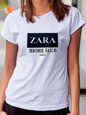 T-shirt damski ZARA BIORĘ ŚLUB biały