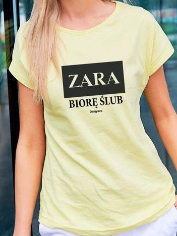T-shirt damski ZARA BIORĘ ŚLUB żółty