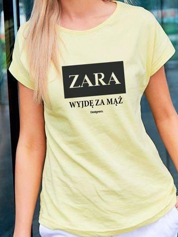 T-shirt damski ZARA WYJDĘ ZA MĄŻ żółty