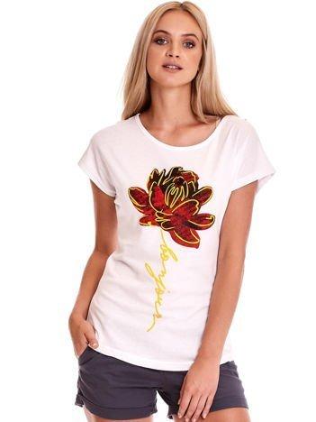 T-shirt damski biały z kwiatem