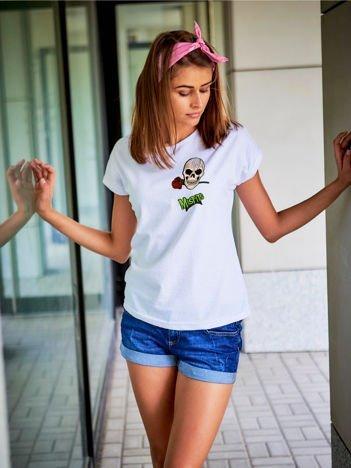 T-shirt damski biały z naszywkami MISFITS