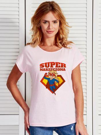 T-shirt damski jasnoróżowy SUPER NARZECZONA blondynka