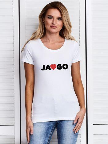 T-shirt damski na walentynki JA KOCHAM GO biały