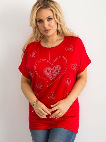 T-shirt damski plus size czerwony
