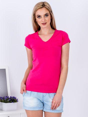 T-shirt damski różowy V-neck