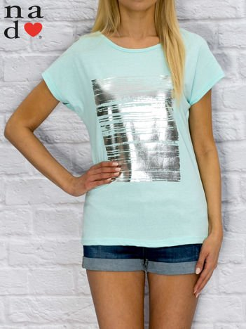 T-shirt damski z błyszczącym nadrukiem turkusowy