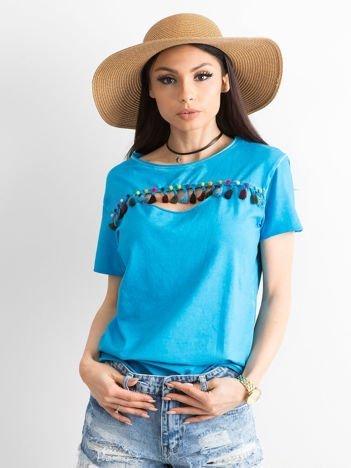 T-shirt damski z kolorowymi pomponikami niebieski