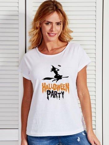 T-shirt damski z nadrukiem czarownicy Halloween biały