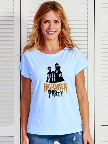 T-shirt damski z nadrukiem zamczyska Halloween niebieski