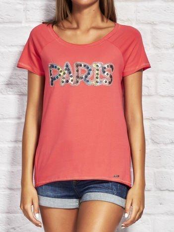 T-shirt damski z napisem PARIS koralowy